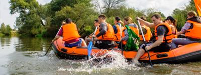 Корпоративный водный сплав по реке с активностями